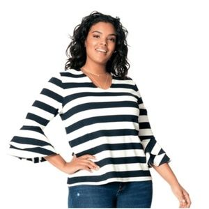 Leota Rugby Stripe Bell Sleeve Top